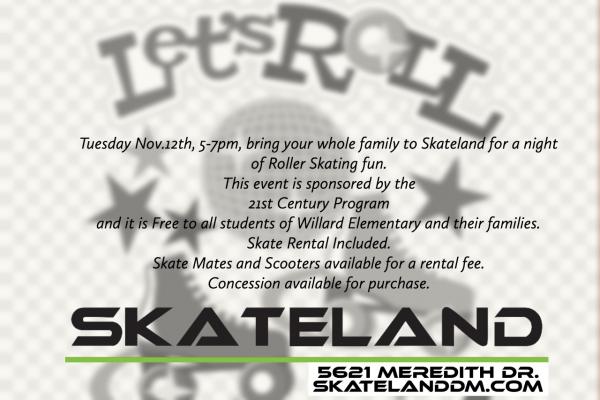 Skate Night – November 12 – 5-7pm